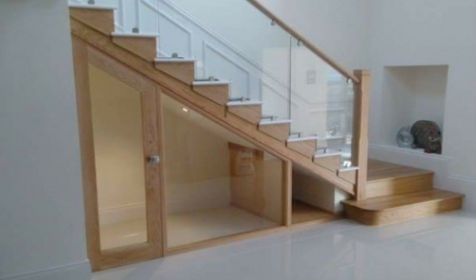 Oak Staircase with built in understairs cupboard