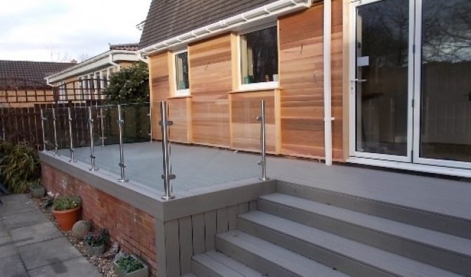 Cedar cladding and composite decking