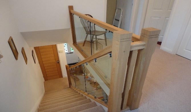 Oak and glass staircase refurbishment
